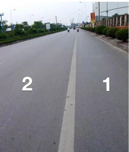 Đường được phân chia 2 làn