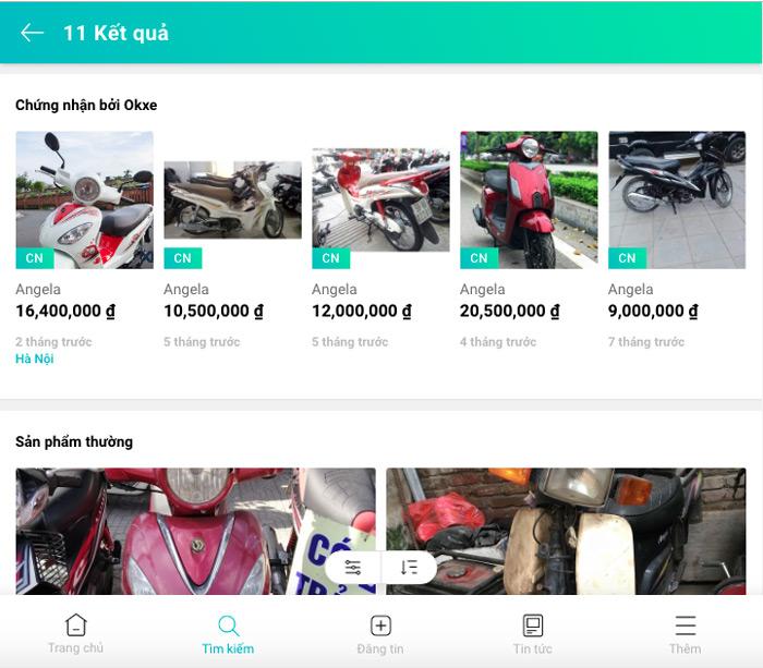 """Tìm kiếm từ khoá """"xe Angela cũ"""" tại trang web okxe.vn"""