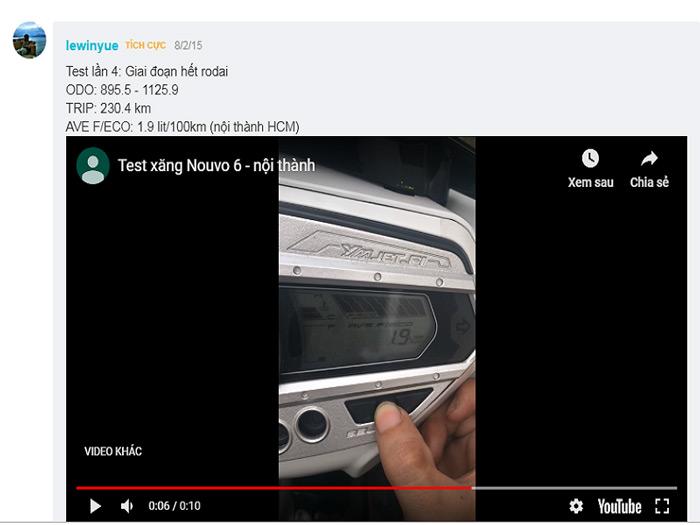 Bạn đó test mức tiêu thụ nhiên liệu Nouvo trong giai đoạn hết roda