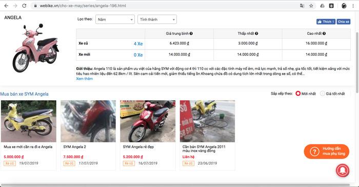 """Tìm kiếm từ khoá """"xe Angela cũ"""" tại trang web webike.vn"""