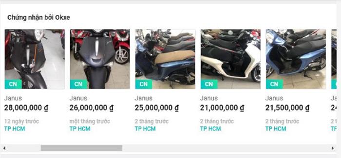 Một góc nhỏ danh sách và giá bán xe Janus trên Okxe