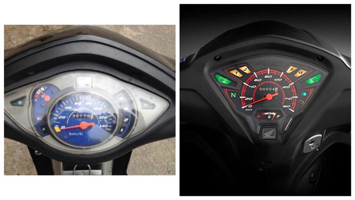 Cụm đồng hồ của Alpha (trái) và RSX (phải)