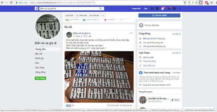 Biển số xe giả được rao bán một cách công khai trên mạng xã hội